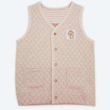 Áo khoác gile chần bông màu nâu sợi bông hữu cơ cho bé trai và bé gái - Mimi Organic