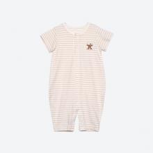 Bộ áo liền quần dáng lửng sợi bông hữu cơ kẻ nâu cho bé - Mimi Organic
