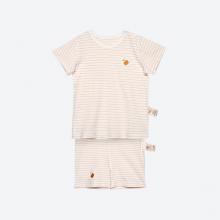 Bộ quần áo cộc kẻ nâu sợi bông hữu cơ cho bé trai và bé gái - Mimi Organic
