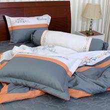 Bộ chăn drap gối cao cấp bọc màu thêu Thắng Lợi 160x200cm - SE (Màu Xám)