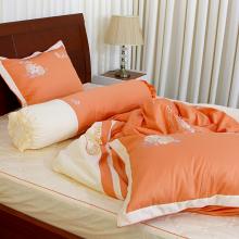 Bộ chăn drap gối cao cấp bọc màu thêu Vỏ ChănThắng Lợi 180x200cm - SE (Cam)