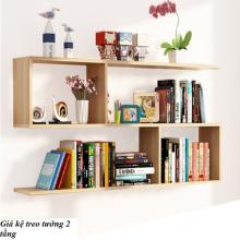 Kệ sách treo tường ziczac 2 tầng (trắng, đen, gỗ) gp13