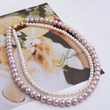 Vòng cổ Ngọc trai nước ngọt Thiên nhiên Cao cấp - Chuỗi đôi tròn Mix nơ - BowtiePearl (4.5-9ly) - CTJ3910