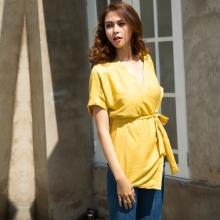 Áo kiểu kimono thời trang thiết kế Hity TOP088 (vàng mù tạt mustard)