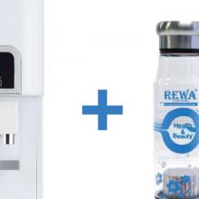Combo Máy lọc nước nóng lạnh Hàn Quốc Rewa RW-NA-218.WHITE + Máy tạo nước ION kiềm cầm tay RW-AK-1700