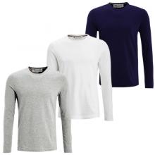 Bộ 3 áo thun nam dài tay cổ tròn chất thun cotton cao cấp pigofashion adt01 Xám nhạt, trắng, xanh đen
