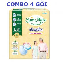 Combo 4 gói tã quần Sunmate size M9 - size L8 (4 gói tã quần người lớn)