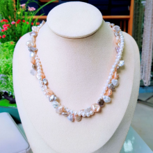 Vòng cổ Ngọc trai nước ngọt Thiên nhiên Cao cấp - Chuỗi đôi Mix Baroque - KyoPearl (6-10ly) - CTJ4311