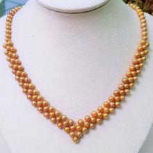 Vòng cổ Ngọc trai nước ngọt Thiên nhiên Cao cấp - Trái tim vàng son - GoldenPearl (5-6ly) - CTJ0212