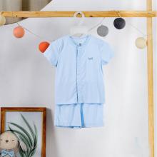 Bộ cộc tay cài giữa vải tre cao cấp Haki size 3-6m Xanh blue BB001