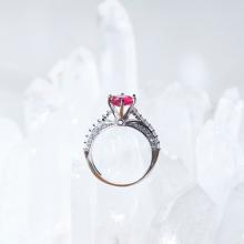 Nhẫn bạc nữ đá ruby kiểu dáng 3 mệnh hỏa thổ - Ngọc Quý Gemstones