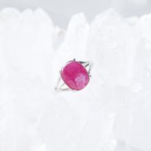 Nhẫn bạc nữ đá ruby kiểu dáng 6 mệnh hỏa thổ - Ngọc Quý Gemstones