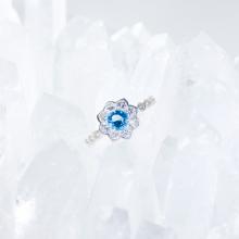 Nhẫn bạc nữ đá Topaz kiểu dáng 3 mệnh thủy, mộc - Ngọc Quý Gemstones