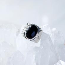 Nhẫn bạc nam đá obsidian đen mệnh thủy, mộc - Ngọc Quý Gemstones