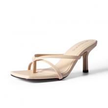Dép cao gót thời trang Erosska mũi vuông kiểu dáng xỏ ngón phối dây quai mảnh gót nhọn cao 7cm EM060