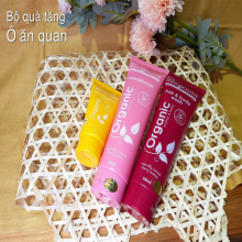 Set quà tặng ăn ô quan(Organic Intensive Soothing Cream,Cherry Coconut Hair and Body Wash, Cherry Coconut Conditioner)