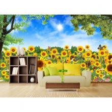 Tranh dán tường 3d vườn hoa hướng dương PC73