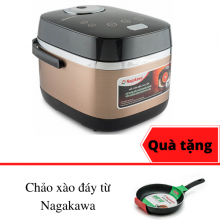 Nồi cơm điện cao tần Nagakawa NAG0124 thiết kế lòng niêu - 1,8 lít - tặng chảo xào đáy từ cao cấp