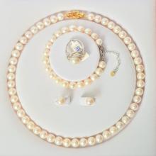 Bộ trang sức Ngọc trai Thiên nhiên Cao cấp 4M - Chuỗi đơn - LightPink (9-10ly) - CTJ2920