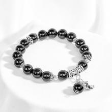 Vòng đá obsidian phối charm bạc hồ ly 9 đuôi Ngọc Quý Gemstones