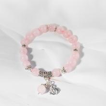 Vòng đá thạch anh hồng phối charm bạc hồ ly 9 đuôi Ngọc Quý Gemstones