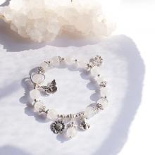 Vòng thạch anh ưu linh trắng phối charm hồ ly bạc Ngọc Quý Gemstones
