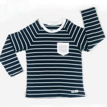 Áo cho bé -  cotton kẻ dài tay ranglan Haki size 6 Kẻ navy - Trắng