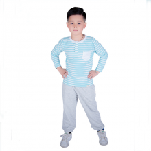 Áo kẻ bé trai cổ trụ Haki (2-8y)