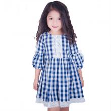 Váy bé gái thô kẻ phối ren tay bồng Haki (2-8y)