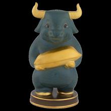 Tượng Trâu Như Ý t.t vàng (16 cm) Màu Hỏa Biến Xanh Gốm Sứ Cao Cấp Minh Long I
