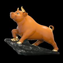 Tượng Trâu Thịnh Vượng t.t vàng (25 cm) Màu cam Gốm Sứ Cao Cấp Minh Long I