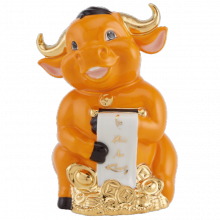 Tượng Trâu Hạnh Phúc trang trí vàng 9.5 cm Màu cam Gốm sứ cao cấp Minh Long I