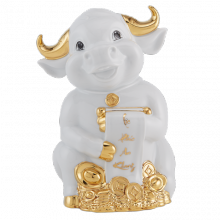 Tượng Trâu Hạnh Phúc trang trí vàng 9.5 cm Trắng Gốm sứ cao cấp Minh Long I