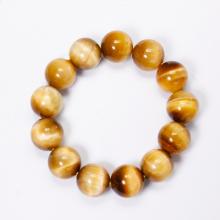 Vòng tay trơn đá thạch mắt hổ vàng tâm 16mm mệnh thổ,kim - Ngọc Quý Gemstones
