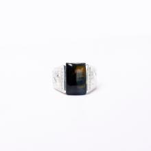 Nhẫn bạc nam mặt đá thạch anh mắt hổ ni21 mệnh thổ, kim - Ngọc Qúy Gemstones