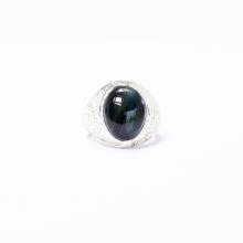 Nhẫn bạc nam mặt đá thạch anh mắt ưng ni20 mệnh thủy,mộc - Ngọc Quý Gemstones