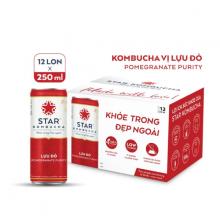 Thùng 12 lon thức uống lên men STAR KOMBUCHA Lựu Đỏ - Pomegranate Purity