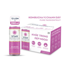 Thùng 12 lon thức uống lên men STAR KOMBUCHA Chanh Dây - Pure Passionfruit
