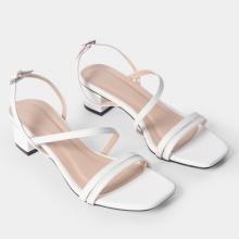 Giày sandal cao gót Erosska thời trang mũi vuông quai ngang phối dây mảnh cao 3cm EB031