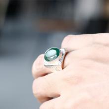 Nhẫn bạc nam mặt đá ngọc bích bản tròn ni20 mệnh hỏa , mộc - Ngọc Quý Gemstones
