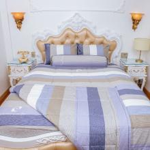 Bộ drap sọc xanh xám cotton Pierre Cardin