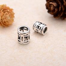 Charm bạc chặn hạt hình trụ họa tiết đồng tiền 6.5x7.5mm - Ngọc Quý Gemstones