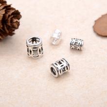 Charm bạc chặn hạt hình trụ họa tiết đồng tiền 5x6.2mm - Ngọc Quý Gemstones