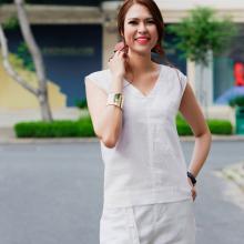 Áo linen không tay áo kiểu nữ đẹp thời trang thiết kế Hity TOP145 (trắng Kim cương)