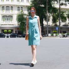 Đầm sơ mi thời trang thiết kế Hity DRE144 (xanh thiên thai)