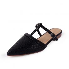 Giày đế bệt Erosska mũi nhọn hở gót phối dây cao 2cm EL018