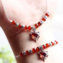 Bộ trang sức đá garnet phối hồ ly bọc bạc mệnh hỏa,thổ - Ngọc Quý Gemstones