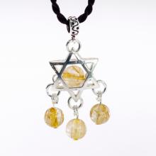 Bộ bông tai mặt dây chuyền bạc thạch anh tóc vàng mệnh thủy, kim - Ngọc Quý Gemstones