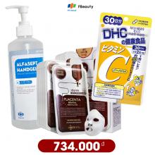 Combo chăm sóc sức khỏe mùa dịch (Gel rửa tay khô, viên uống bổ sung Vitamin C, mặt nạ dưỡng da)