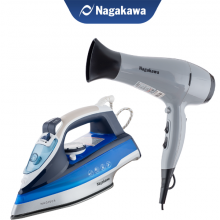 Combo ưu đãi - Bàn ủi hơi nước Nagakawa NAG1505 và Máy sấy tóc Nagakawa NAG1606 (2000W)